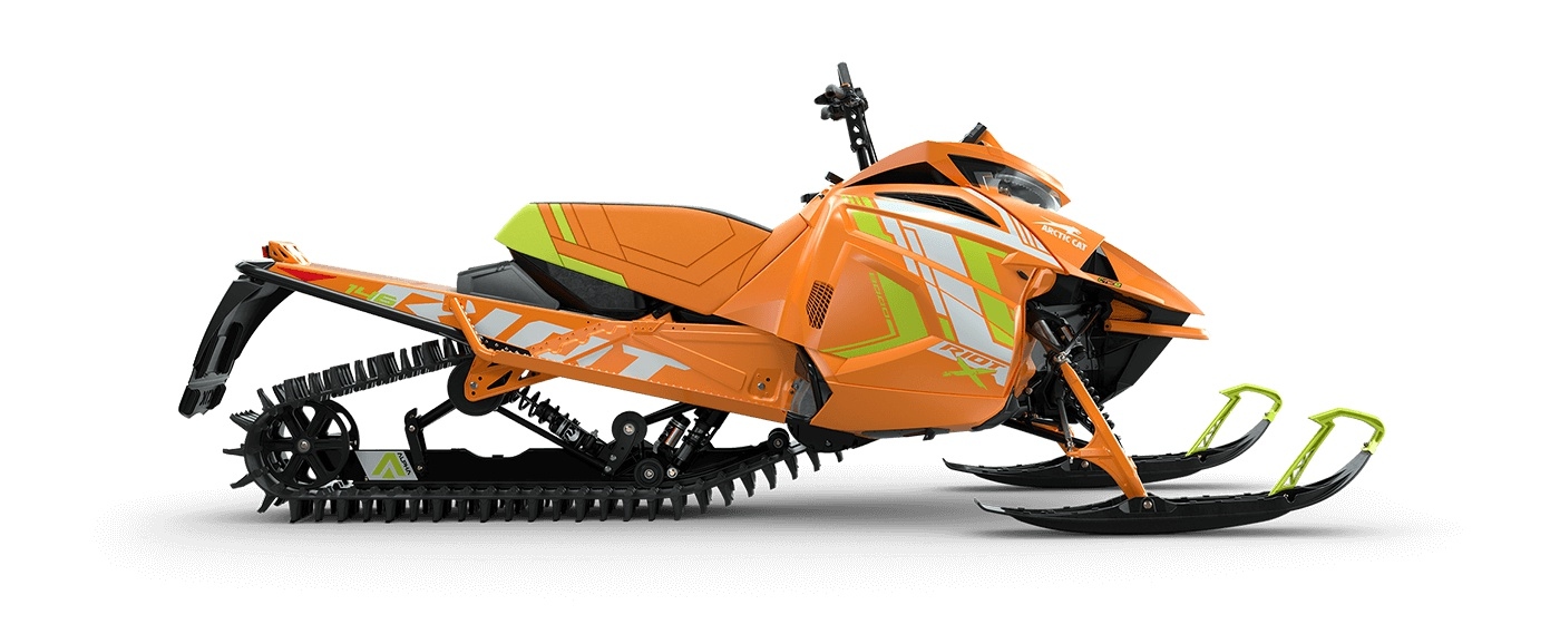 "2022 Arctic Cat Riot X 8000 146""/2.60"" PowerClaw Push Button Electric AMS w/ QS3 Shocks Orange/ Hyper Green"