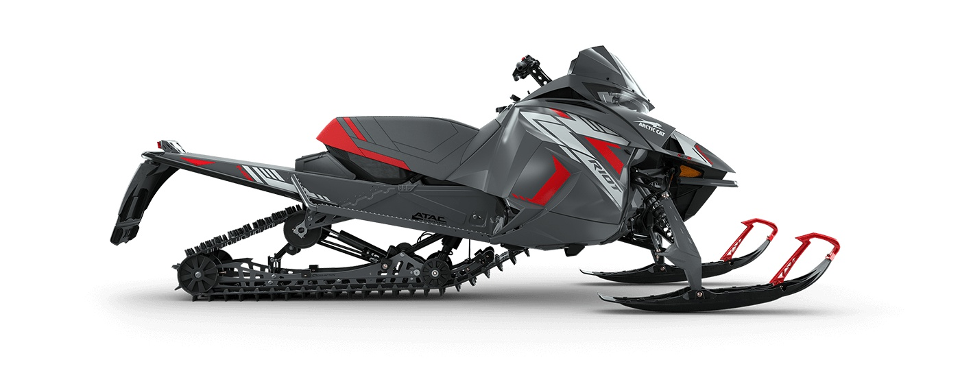 """2022 Arctic Cat Riot 8000 With Atac 146""""/1.60"""" Cobra Push Button Electric ARS II w/ ATAC Dynamic Charcoal/Fire Red"""