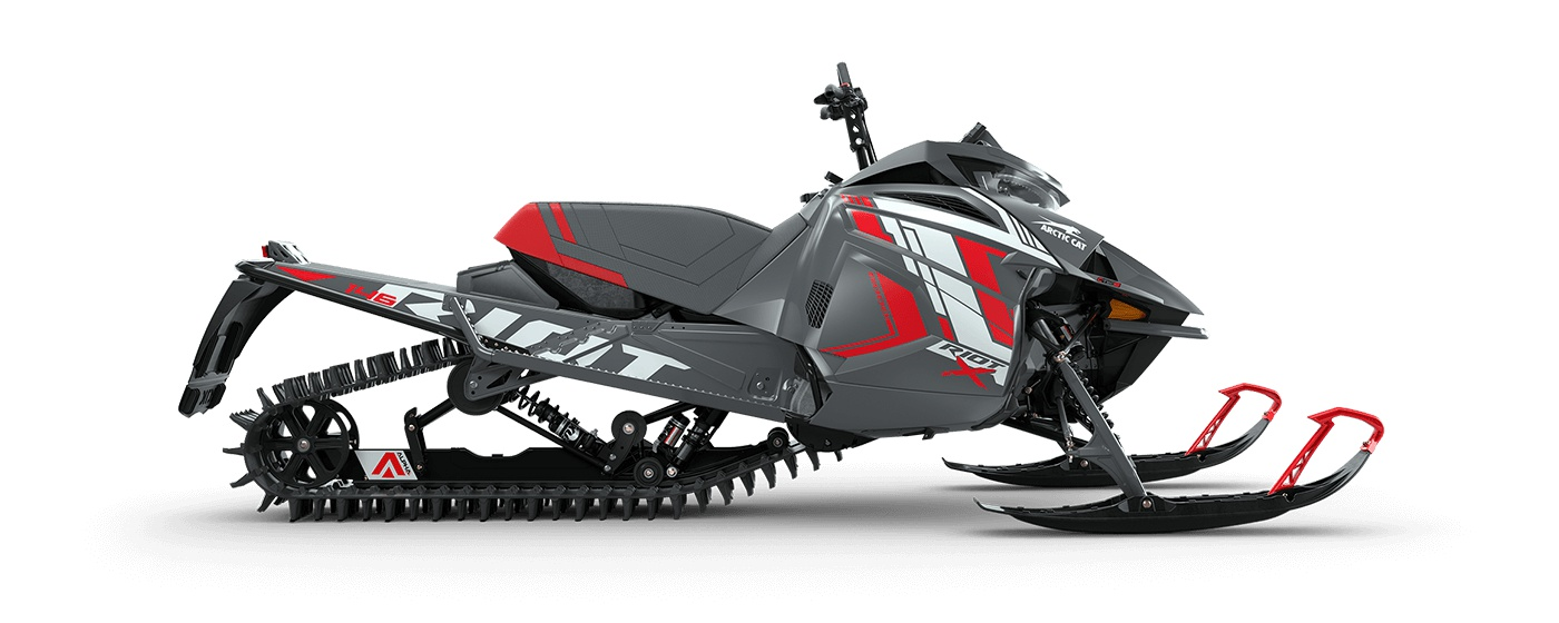 """2022 Arctic Cat Riot X 8000 146""""/2.60"""" PowerClaw Push Button Electric AMS w/ QS3 Shocks Dynamic Charcoal/Fire Red"""