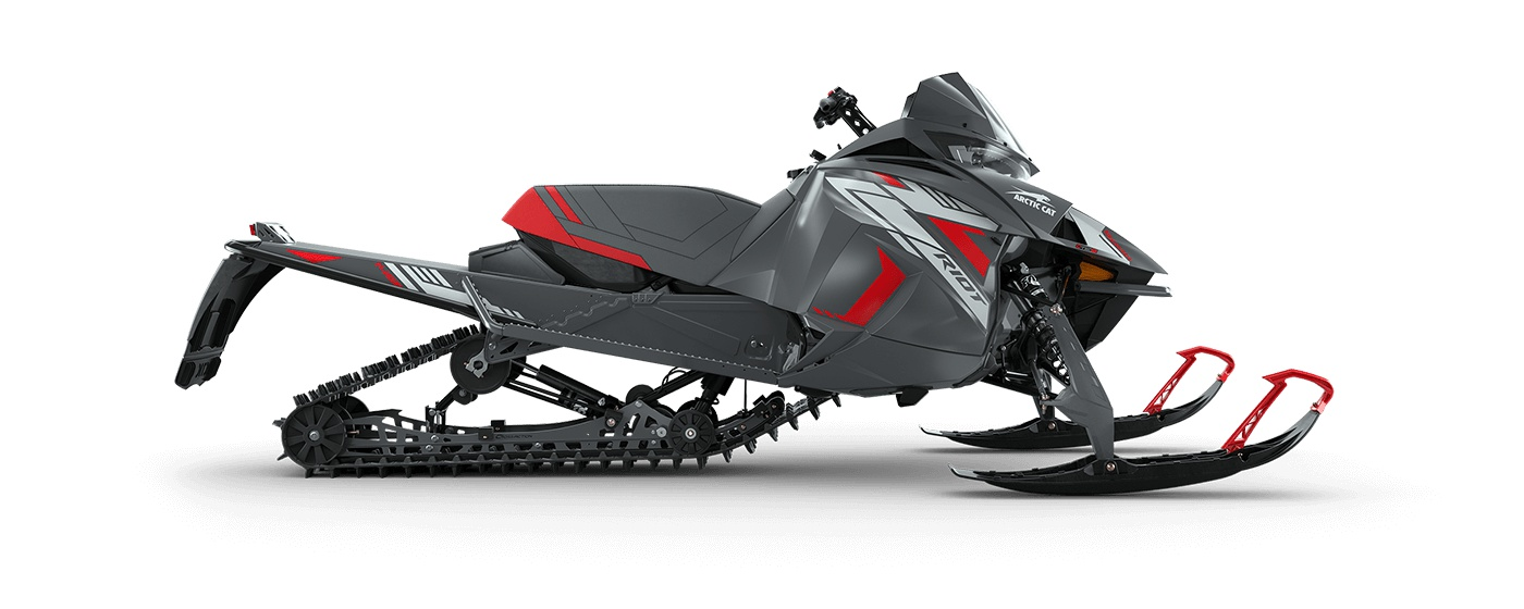 """2022 Arctic Cat Riot 8000 146""""/1.60"""" Cobra Push Button Electric ARS II w/ QS3 Shocks Dynamic Charcoal/Fire Red"""