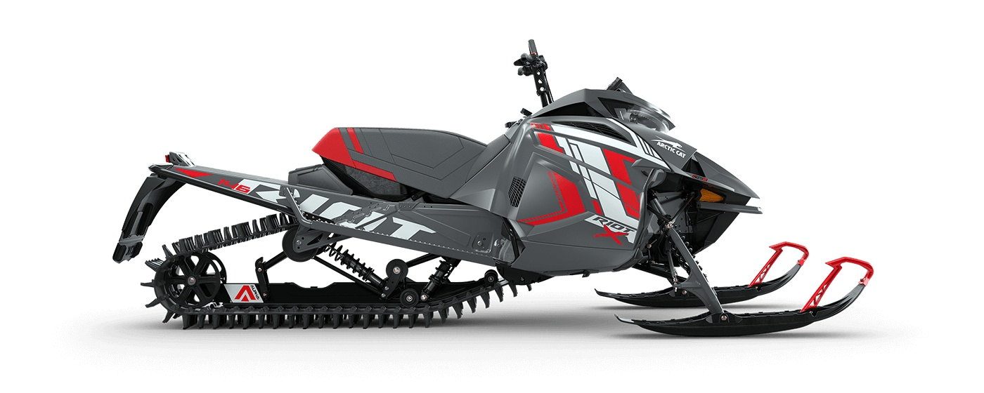 """2022 Arctic Cat Riot X 8000 146""""/2.60"""" PowerClaw Push Button Electric AMS Dynamic Charcoal/Fire Red"""