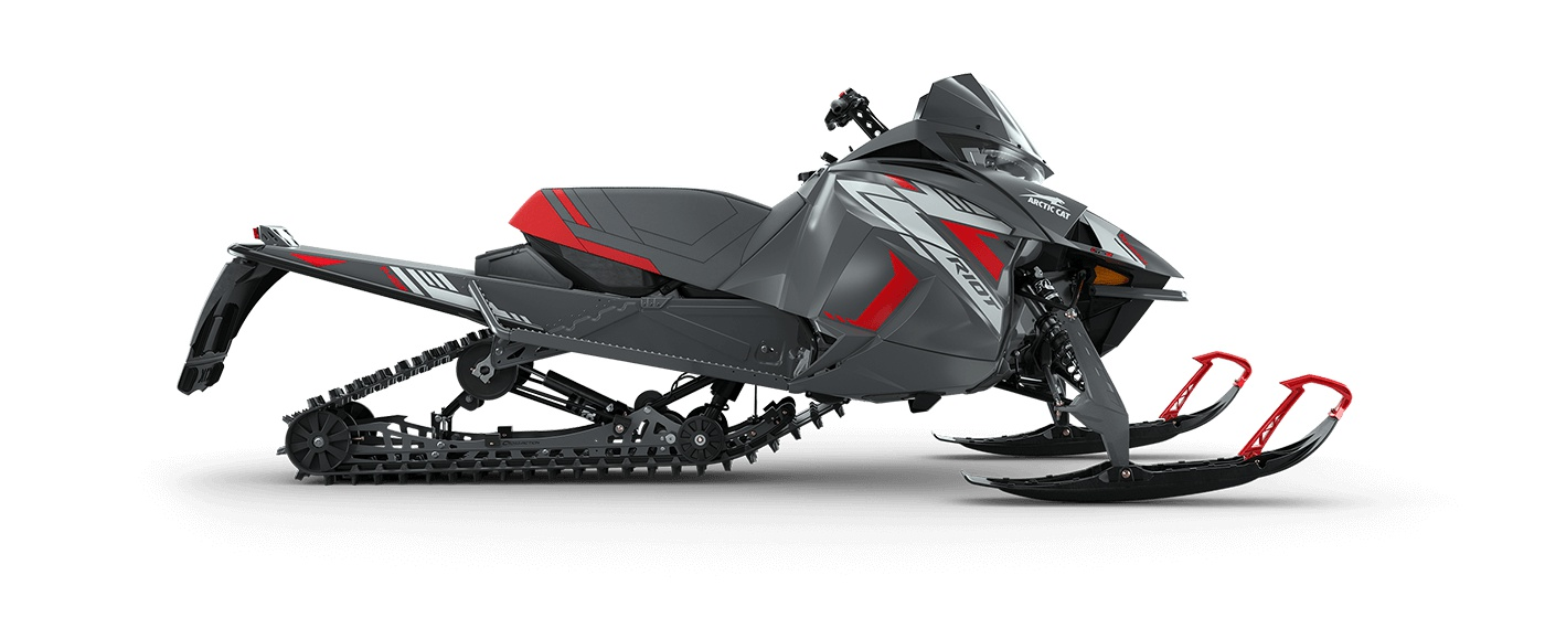 """2022 Arctic Cat Riot 8000 146""""/1.35"""" Cobra Push Button Electric ARS II w/ QS3 Shocks Dynamic Charcoal/Fire Red"""