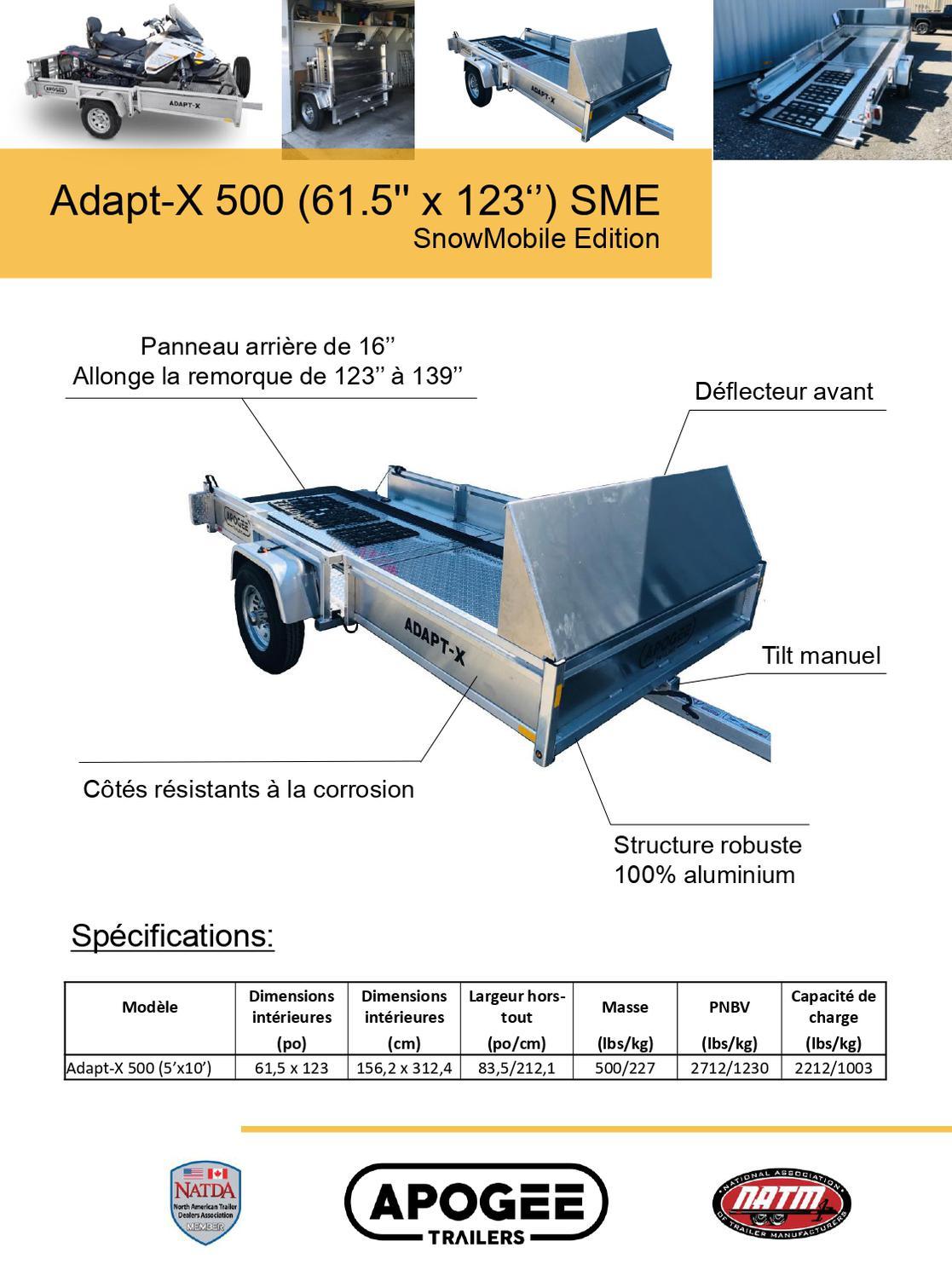 Apogee Remorque ADAPT-X 500 SME 2021